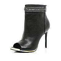 Black chain detail peep toe stiletto boots