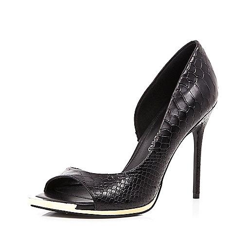 Black metal trim peep toe heels