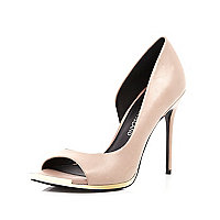 Light pink metal trim peep toe heels