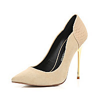 Nude croc panel metal heel court shoes