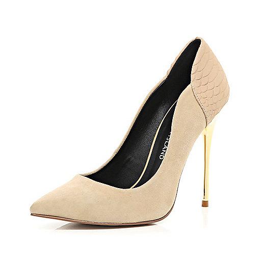 Nude croc panel metal heel court shoes