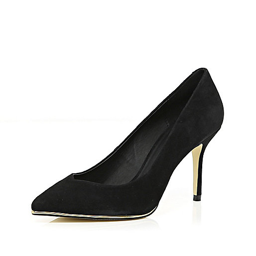 Black metal trim court shoes
