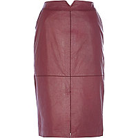 Dark pink leather split front pencil skirt