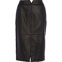 Black leather split front pencil skirt