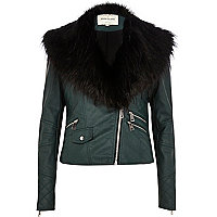 Green faux fur collar biker jacket