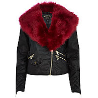 Black contrast faux fur collar biker jacket