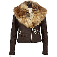 Brown faux fur collar biker jacket