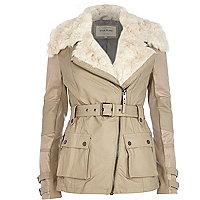 Beige faux fur collar biker coat