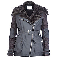 Grey faux fur collar biker jacket