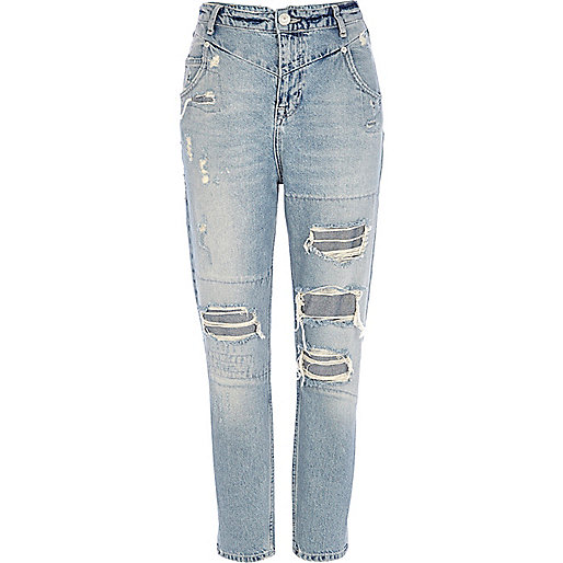 Light wash ripped slim Mom jeans