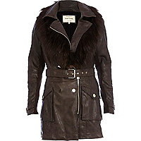Dark brown faux fur collar trench coat