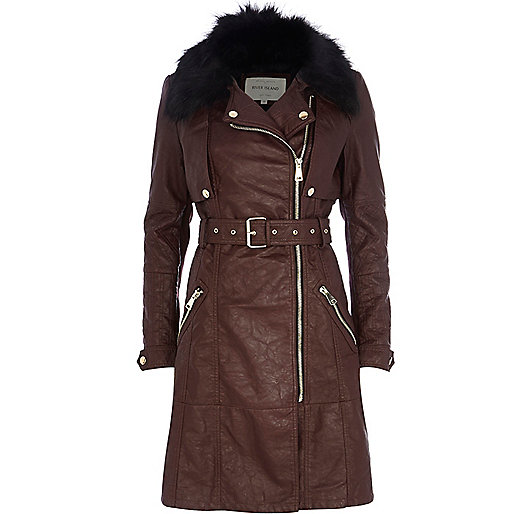 Dark red faux fur collar biker trench coat