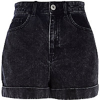 Black acid wash high waisted denim shorts