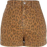 Brown animal print high waisted shorts