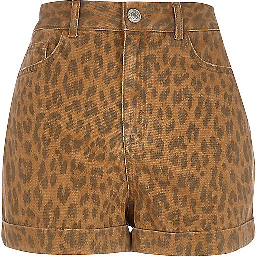 Brown animal print high waisted shorts