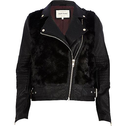 Black faux fur panel biker jacket