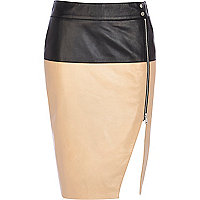 Black two-tone split front leather skirt