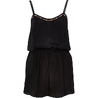 Black embellished cami playsuit