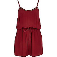 Dark red embellished playsuit