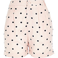 Light pink polka dot casual shorts