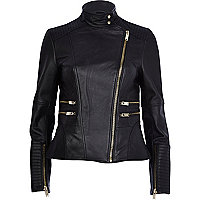 Black leather turtle neck biker jacket