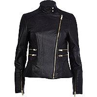 Black leather turtle neck biker jacket