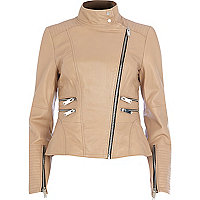 Nude leather turtle neck biker jacket