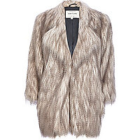 Silver long pile faux fur coat