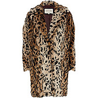 Brown leopard print faux fur oversized coat