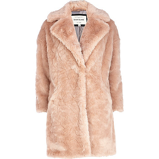 Light pink faux fur oversized coat