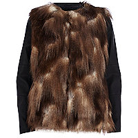 Brown leather-look sleeve faux fur jacket