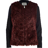 Dark red contrast sleeve faux fur jacket