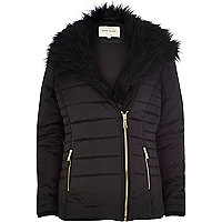 Black faux fur collar padded jacket
