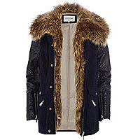 Navy blue faux fur collar wool parka jacket