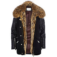 Black faux fur collar wool parka jacket