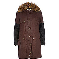 Dark red waxed parka jacket