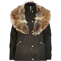 Dark khaki faux fur collar waxed jacket