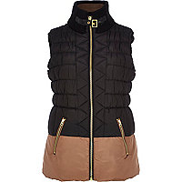 Black padded two-tone gilet