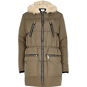 Khaki green longline padded jacket