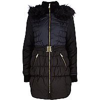 Black colour block longline padded jacket