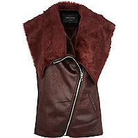 Dark red faux fur lined gilet