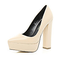 Nude chunky platform point court shoes