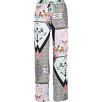 White abstract print slouch trousers