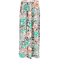 Cream snake and floral print maxi skirt