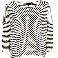 Cream stripe boxy top
