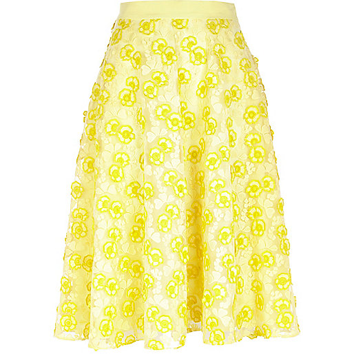 Yellow 3D floral lace midi skirt