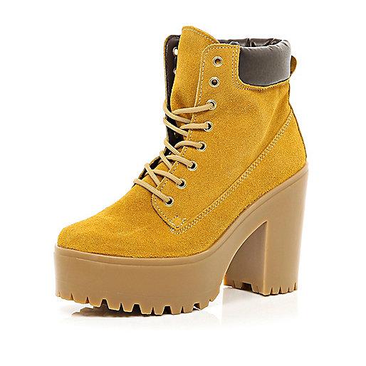 Light brown suede block heel worker boots
