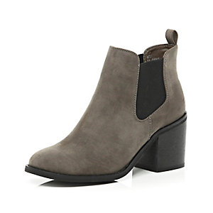 Dark brown block heel Chelsea ankle boots