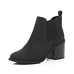 Black block heel Chelsea ankle boots