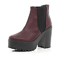 Dark red chunky platform Chelsea boots